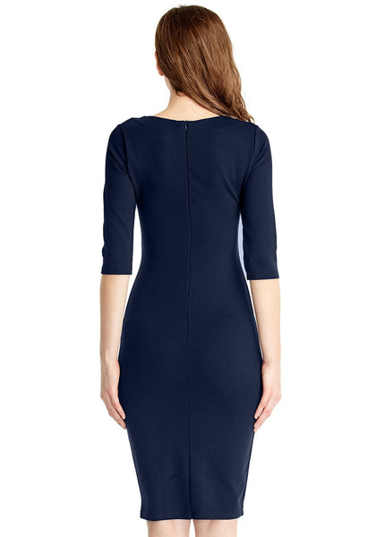 Back view of model in navy classic bodycon midi dress