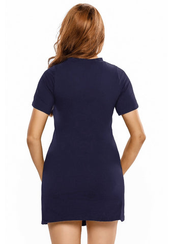 Navy Lace-Up Tee Dress