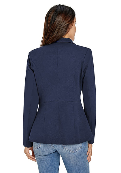 Back view of model in navy notched lapel side zip blazer