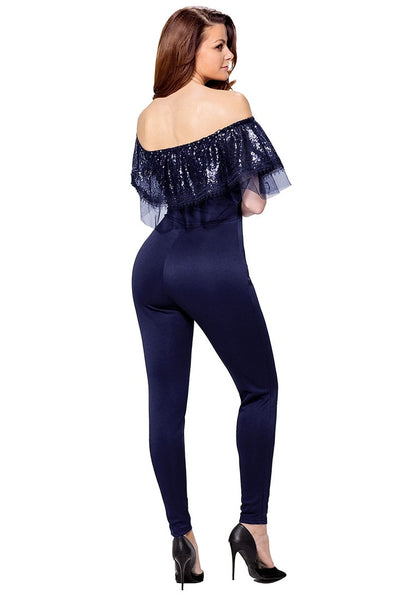 Back view of model in navy sequin ruffled off-shoulder jumpsuit