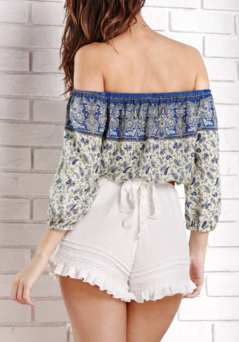 Off-Shoulder Paisley Crop Top