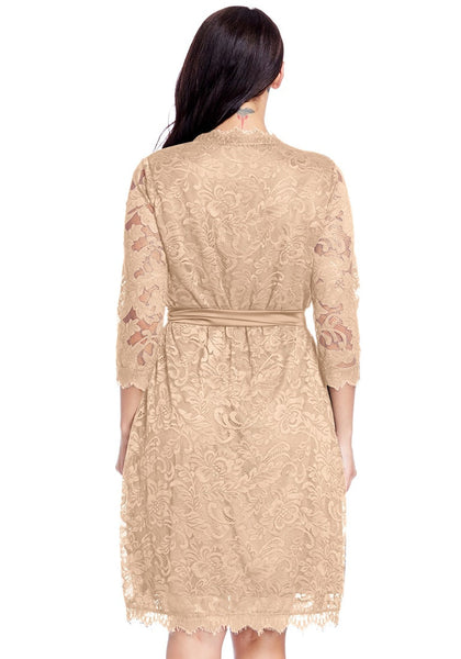 Back view of model in plus size beige lace crop sleeves wrap dress