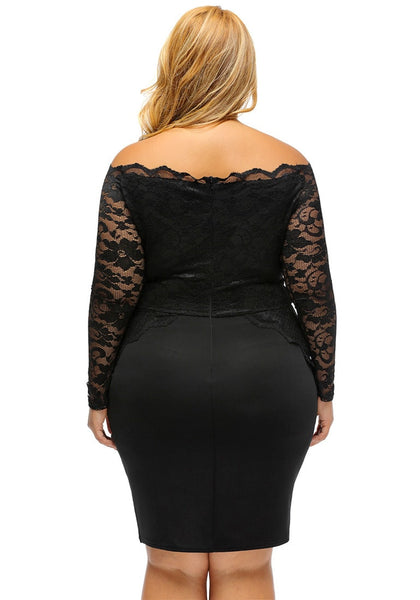 Back view of model in plus size black off-shoulder lace dress