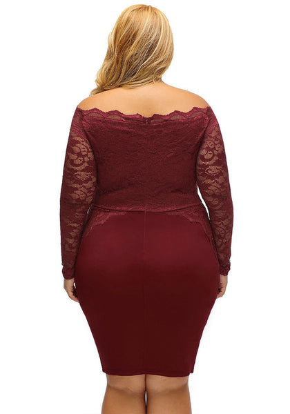 Back view of model in plus size burgundy off-shoulder lace dress