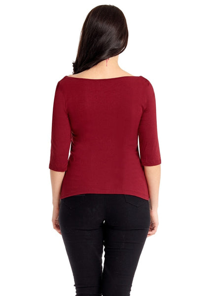 Back view of model in plus size burgundy square-neckline ruched mesh-front top