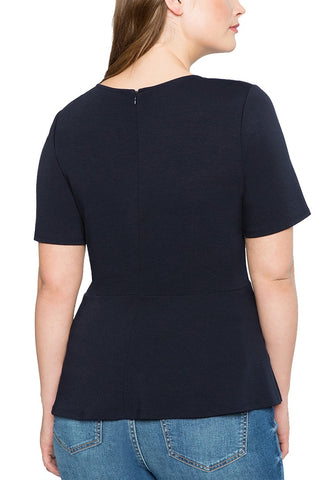 Plus Size Navy Lace-Up Waist Blouse