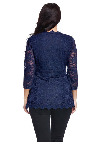 Plus Size Navy Lace Scallop Blouse
