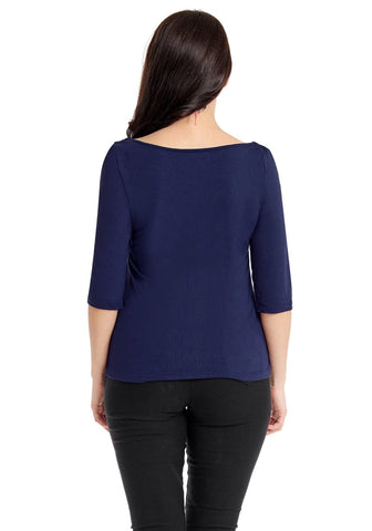 Plus Size Navy Square-Neckline Ruched Mesh-Front Top