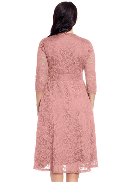Back view of model in plus size old rose lace surplice midi dress