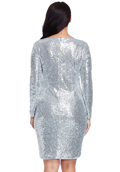 Back view of model in plus size silver sequined party dress