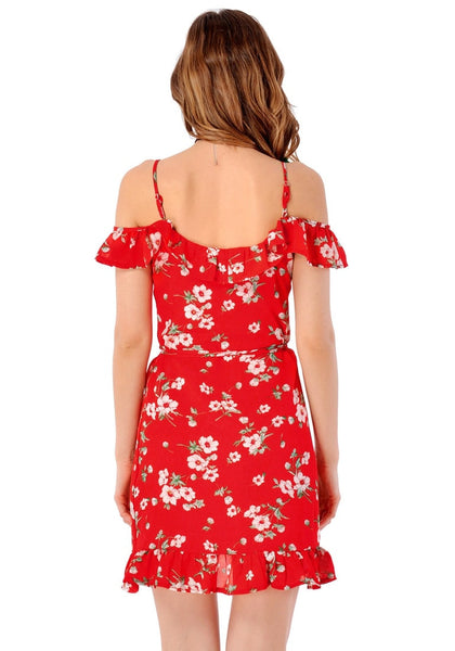 Back view of model in red floral ruffled cold-shoulder wrap dress