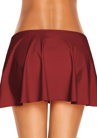 Red Front-Twist Slit Swim Skirt
