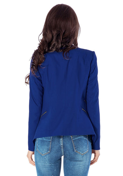 Back view of model in royal blue draped blazer