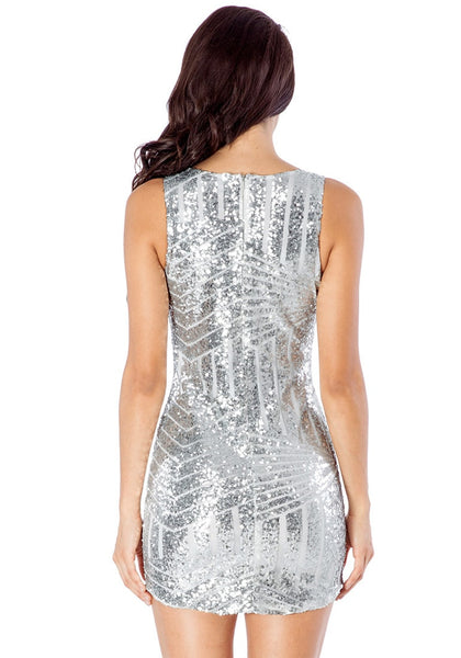 Back view of model in silver sequin party dress