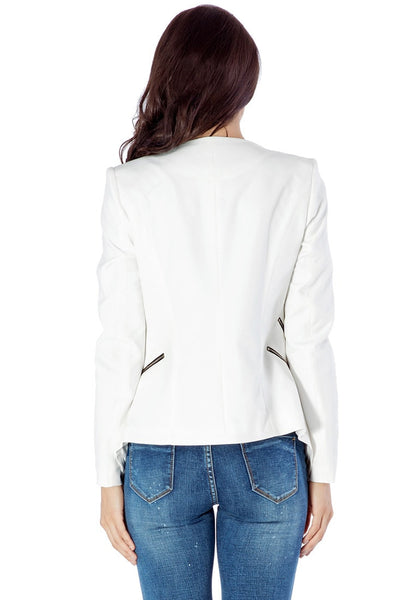 Back view of model in white draped blazer
