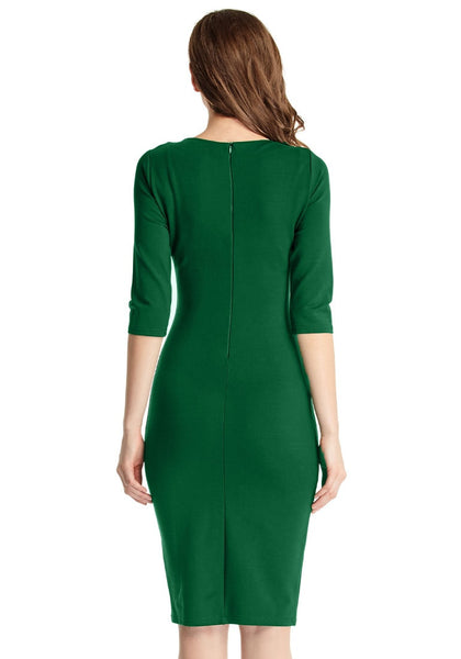 Back view of model ingreen classic bodycon midi dress