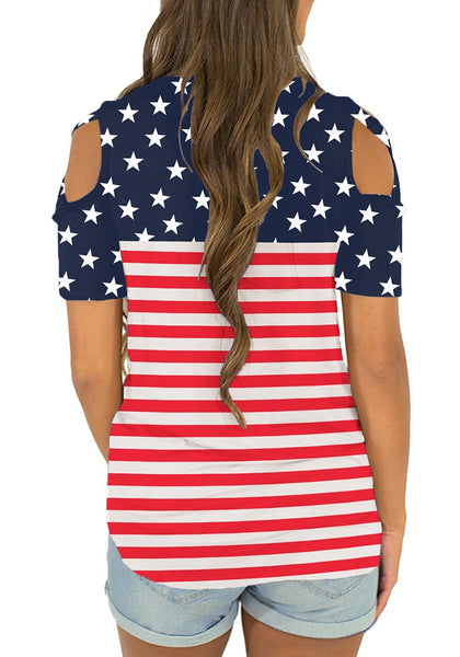 Back view of model wearing American flag crisscross cutout shoulder blouse