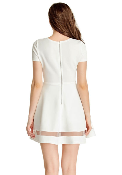 Back view of model wearing White Mesh-Panel Short-Sleeve Skater Dress