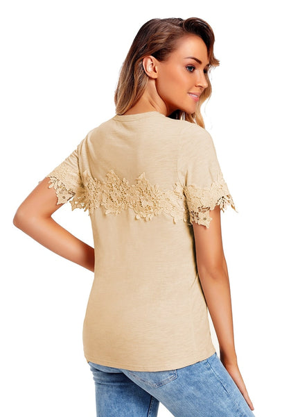 Back view of model wearing apricot floral crochet short sleeves blouse