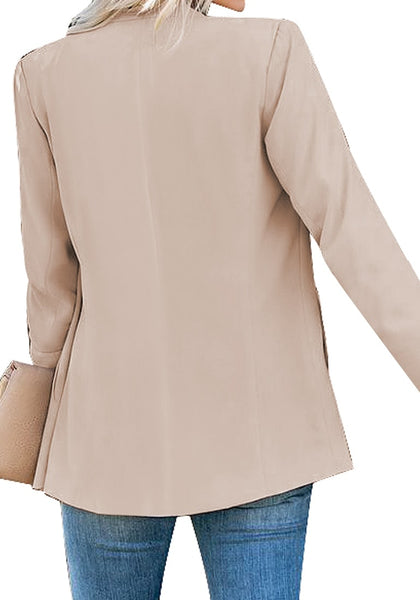 Back view of model wearing apricot open-front side pockets blazer