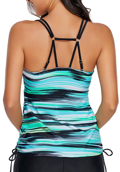 Back view of model wearing aqua abstract stripe-print strappy tankini top