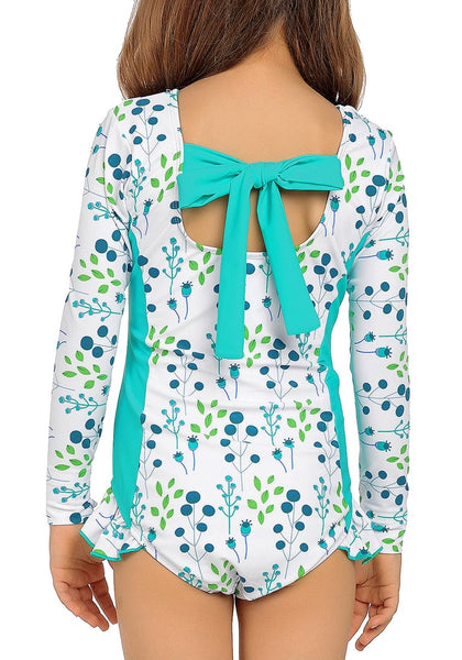 Back view of model wearing aqua blue floral long sleeves ruffled one-piece girls rash guard swimsuit
