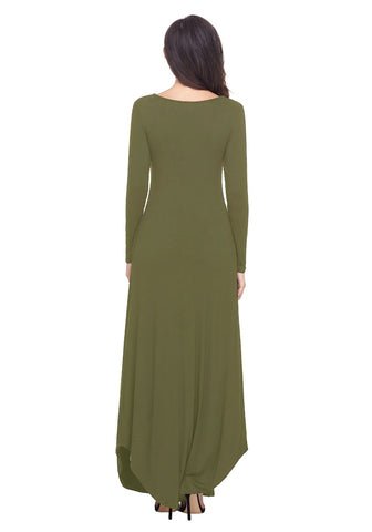 Army Green T-Front Long Sleeves Shift Maxi Dress