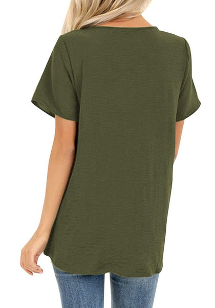 Back view of model wearing army green V-neckline short sleeves button-up tie-front top