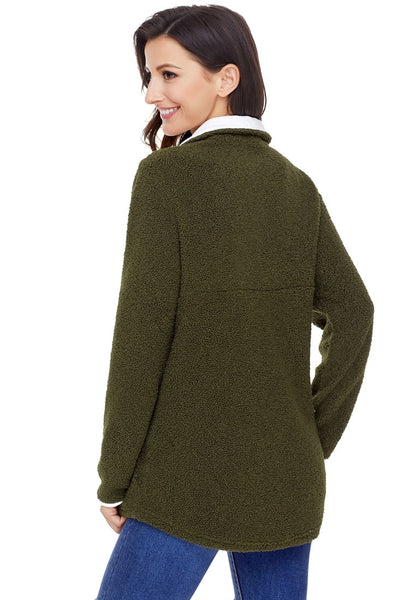 Back view of model wearing army green button-front fleece pullover