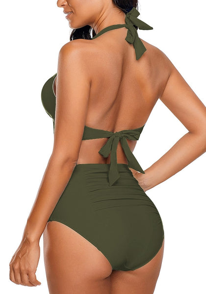 Back view of model wearing army green halter ruched high-waist bikini set