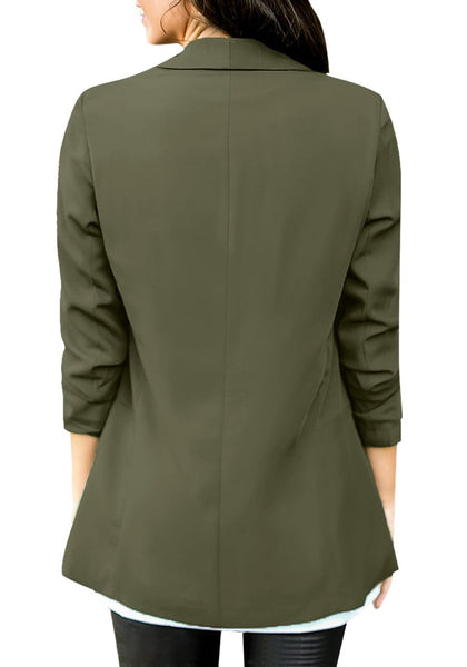Back view of model wearing army green lapel side pocket slim blazer
