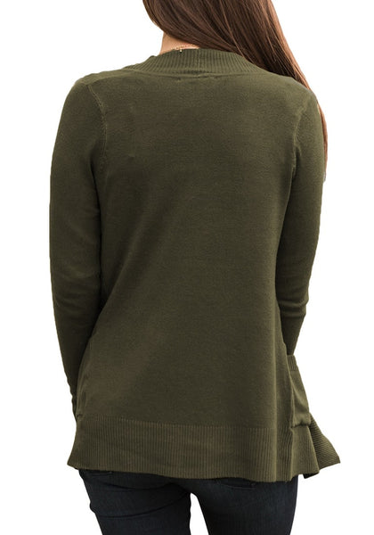 Back view of model wearing army green ribbed trim knit open-front cardigan
