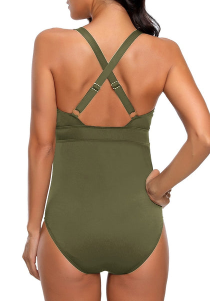 Back view of model wearing army green ruched crisscross-back monokini