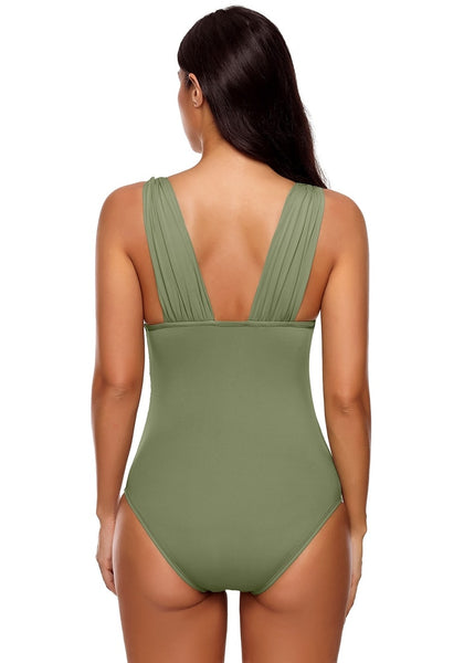 Back view of model wearing army green v neck ruched one piece swimsuit
