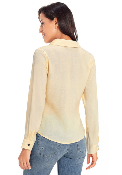 Back view of model wearing beige 34 sleeves tie-front button-up blouse