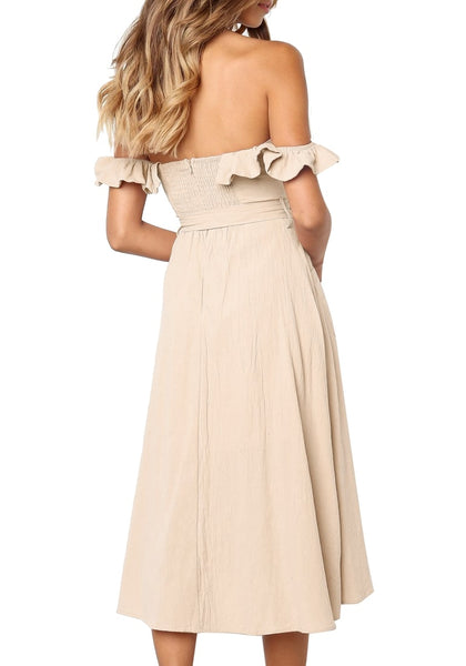 Back view of model wearing beige ruffled off-shoulder belted midi skater dress