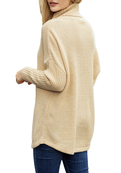 Back view of model wearing beige turtleneck ribbed knit pullover sweater