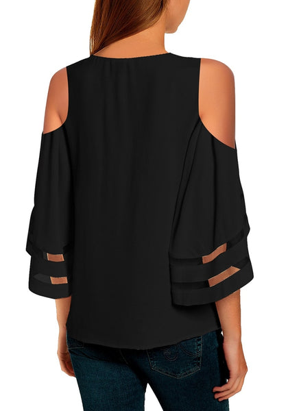 Back view of model wearing black 34 bell mesh panel sleeves cold-shoulder loose top