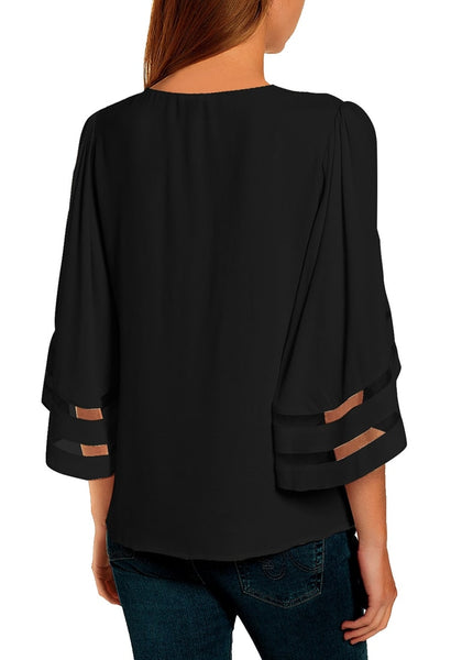 Back view of model wearing black 34 bell mesh panel sleeves tie-front button-up loose top
