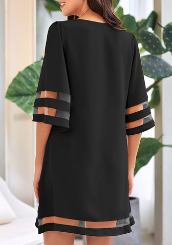 Black 3/4 Bell Sleeves Mesh Panel Crew Neckline Loose Dress