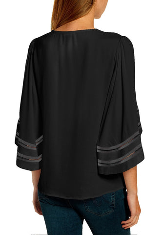 Black 3/4 Ribbon Mesh Panel Sleeves V-Neckline Loose Top