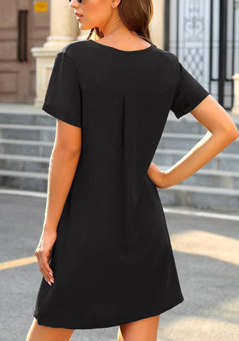 Black V-Neck Button Down Short Sleeve Mini Dress