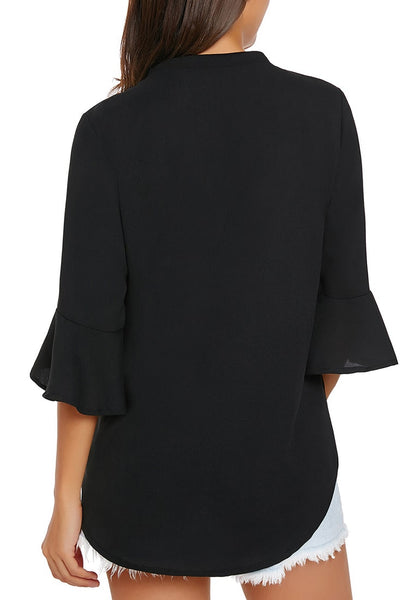 Back view of model wearing black V-neck flare sleeves loose chiffon blouse