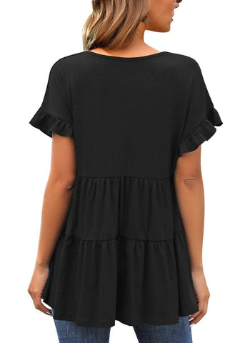 Black V-Neck Ruffled Short Sleeves Tiered Tunic Top