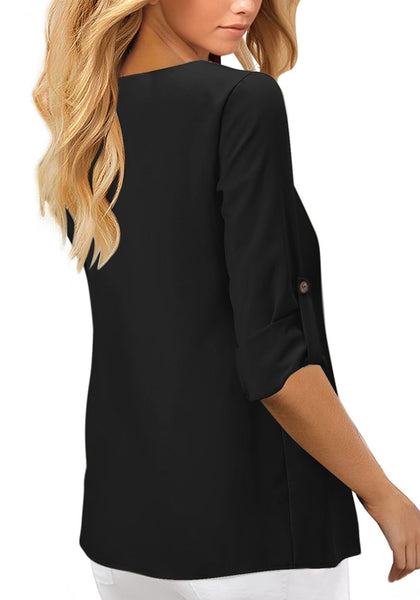 Back view of model wearing black V-neckline 34 cuffed sleeves button-up loose top