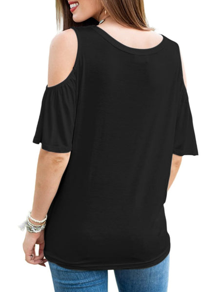 Back view of model wearing black V-neckline button-up cold-shoulder tie-front blouse