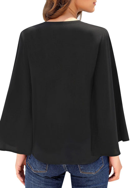 Back view of model wearing black V-neckline button loop loose top
