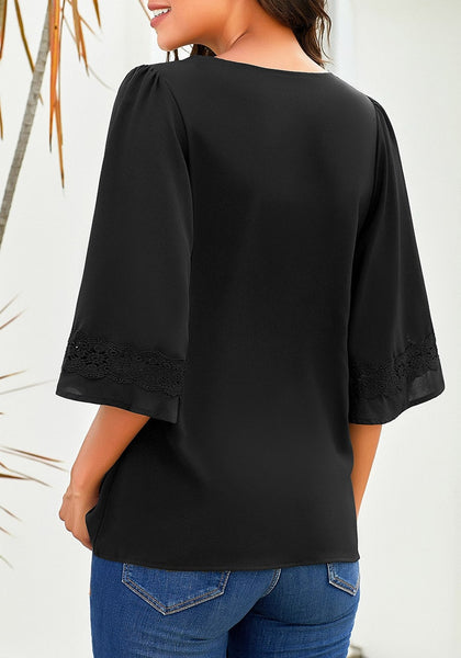 Back view of model wearing black V-neckline crochet lace trim sleeves loose blouse