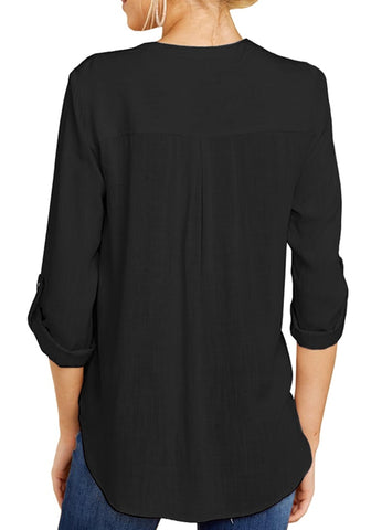 Black V-Neckline Cuffed Sleeves Loose Surplice Top