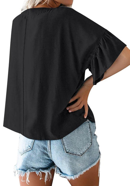 Back view of model wearing black V-neckline ruffle half sleeves button-up loose top